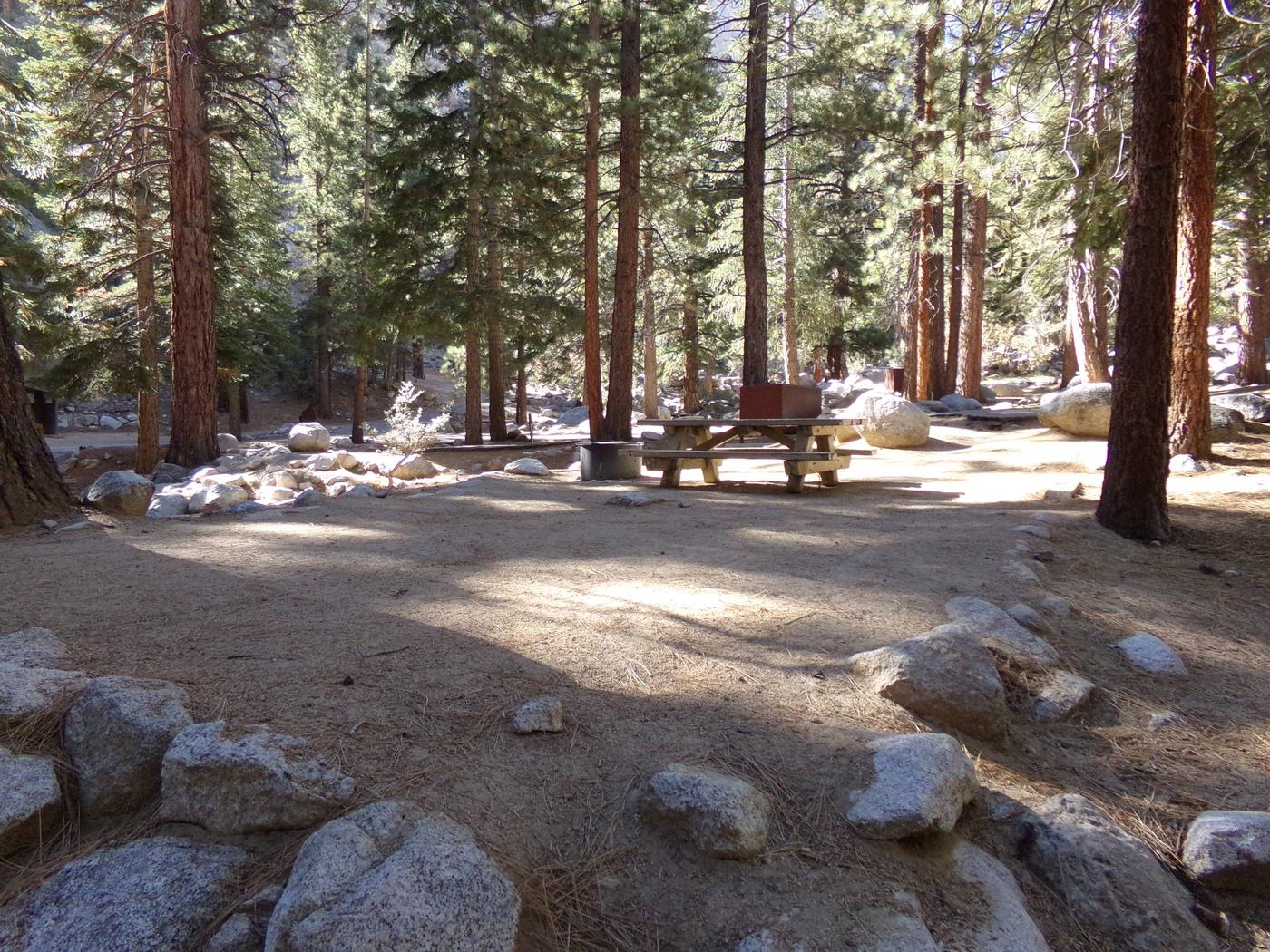 Mt. Whitney Portal Campground site #15 featuring mountain top setting with picnic area and camping space.