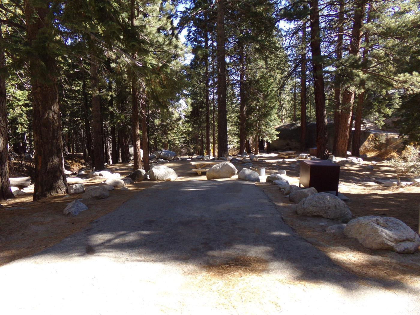 Parking. space and entrance to site #15, Mt. Whitney Portal Campground.