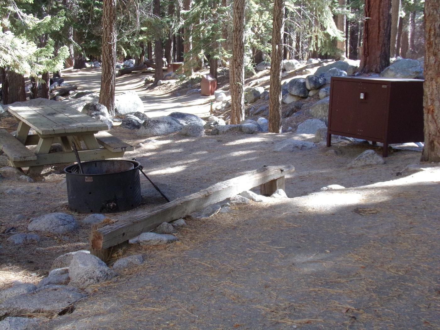 Mt. Whitney Portal Campground site #17 featuring mountain top setting with picnic area and camping space.
