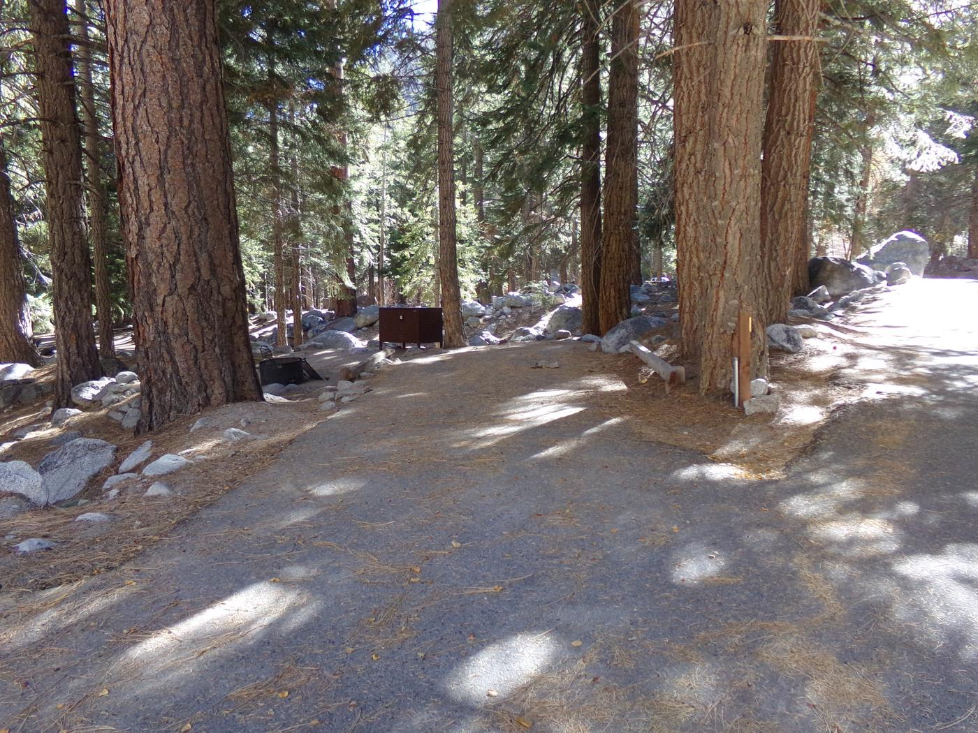 Parking space and entrance to site #17, Mt. Whitney Portal Campground.
