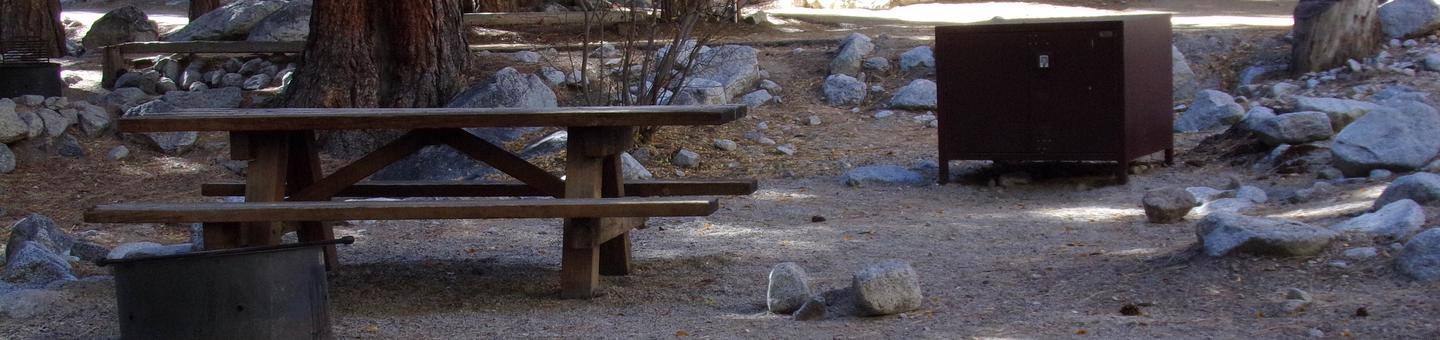 Mt. Whitney Portal Campground site #19 featuring mountain top setting picnic area and camping space.