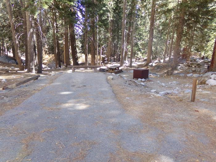 Parking space and entrance to site #19, Mt. Whitney Portal Campground.