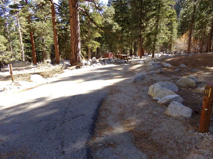 Parking space and entrance to site #27, Mt. Whitney Portal Campground.