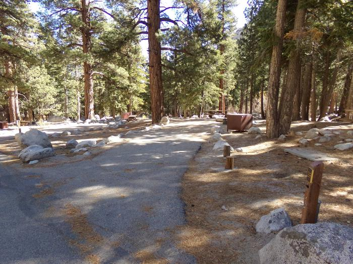 Parking space and entrance to site #29, Mt. Whitney Portal Campground.