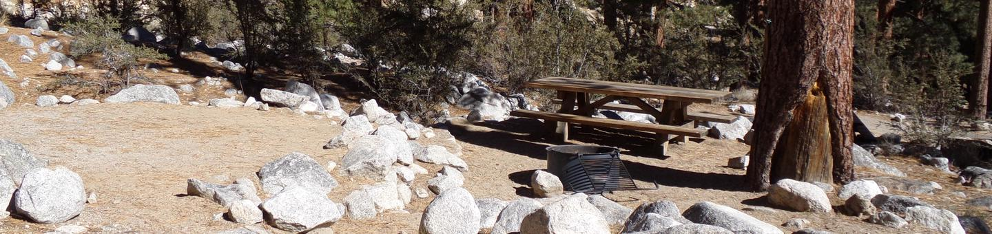 Mt. Whitney Portal Campground site #31 featuring the mountain top setting picnic area and camping space.