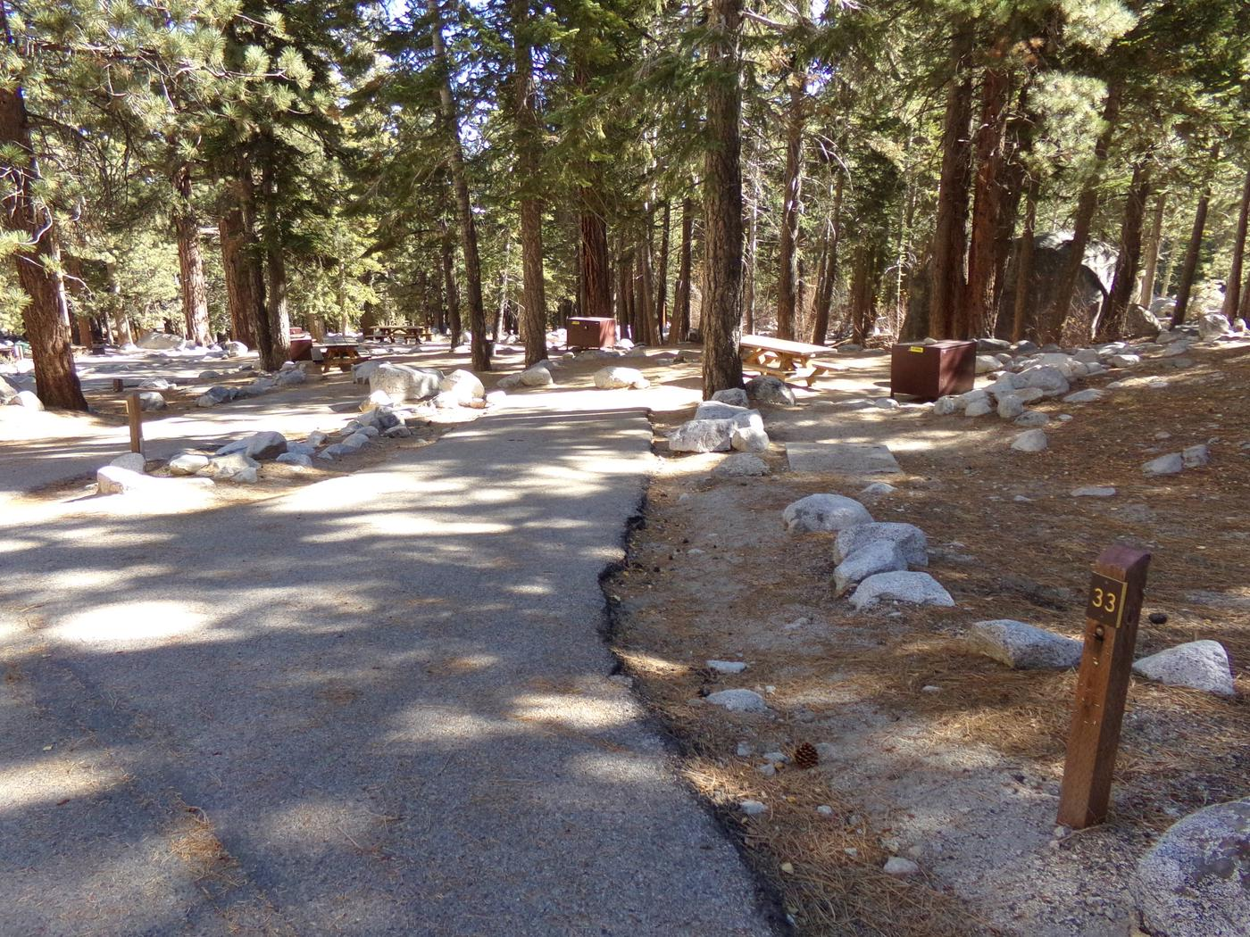 Parking space and entrance to site #33, Mt. Whitney Portal Campground.