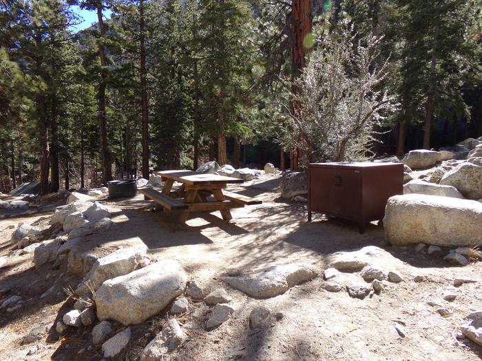 Mt. Whitney Portal Campground site #37 featuring the mountain top setting picnic area and camping space.