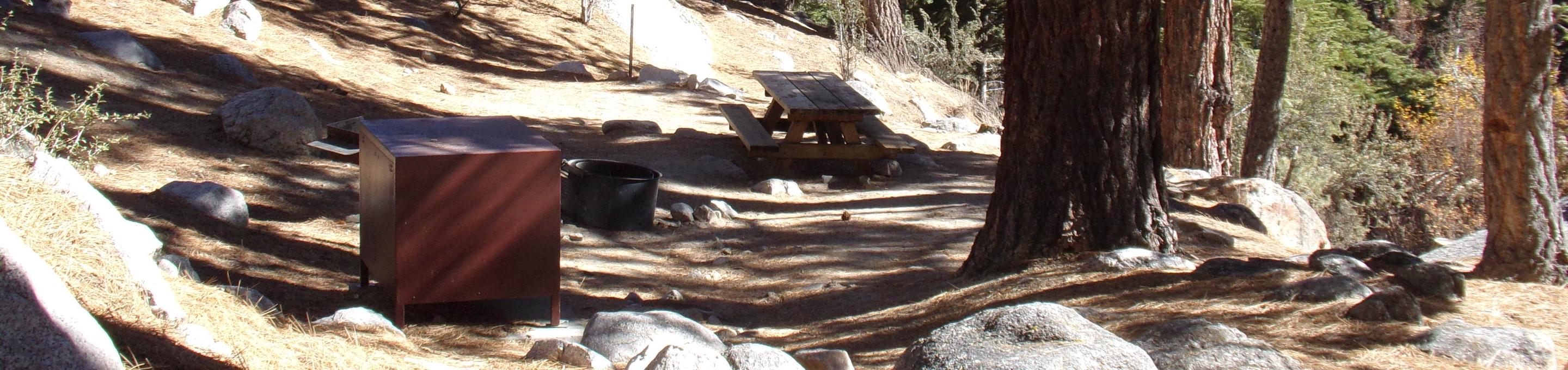 Mt. Whitney Portal Campground site #39 featuring the mountain top setting picnic area and camping space.