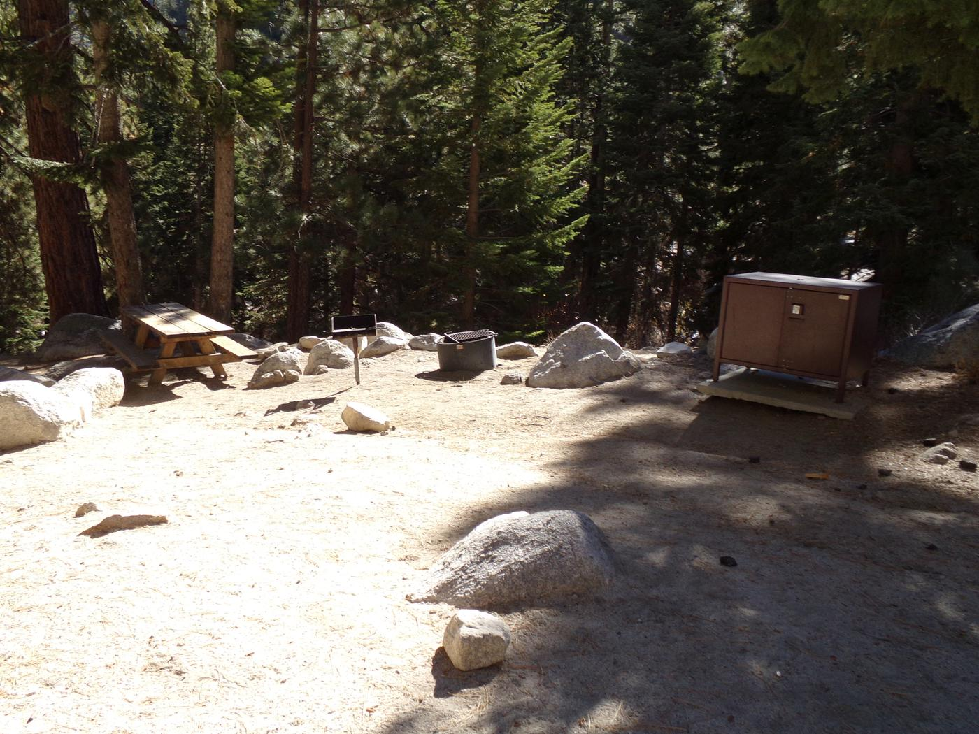 Mt. Whitney Portal Campground site #40 featuring the mountain top setting picnic area and camping space.