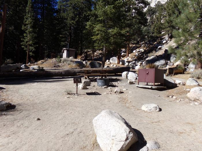 Mt. Whitney Portal Campground site #41 featuring the mountain top setting picnic area and camping space.
