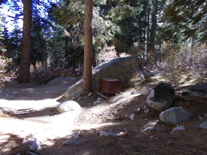 Mt. Whitney Portal Campground site #42 featuring the mountain top setting with food storage and camping space.