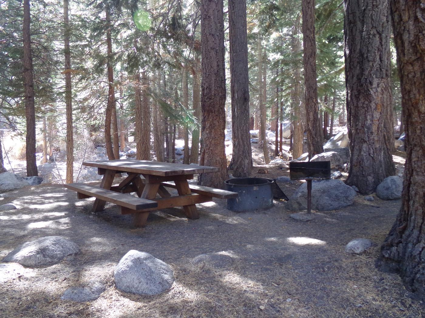 Mt. Whitney Portal Campground site #44 featuring the mountain top setting picnic area and camping space.