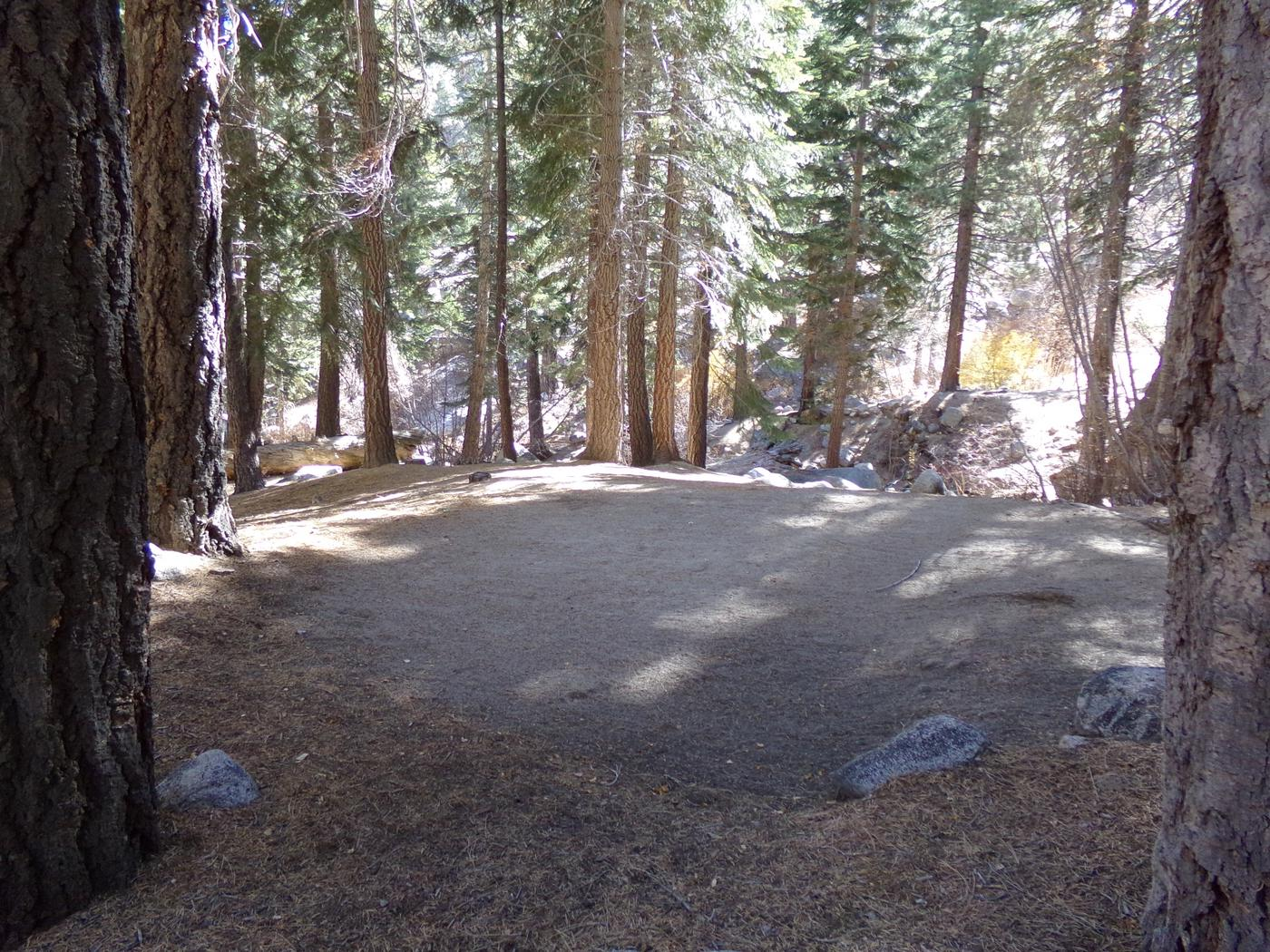 Mt. Whitney Portal Campground site #44 featuring the mountain top setting camping space.