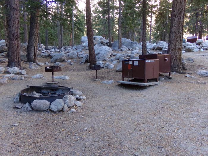 Mt. Whitney Portal Campground Group Site #01 featuring mountain top setting with picnic table and fire pit.