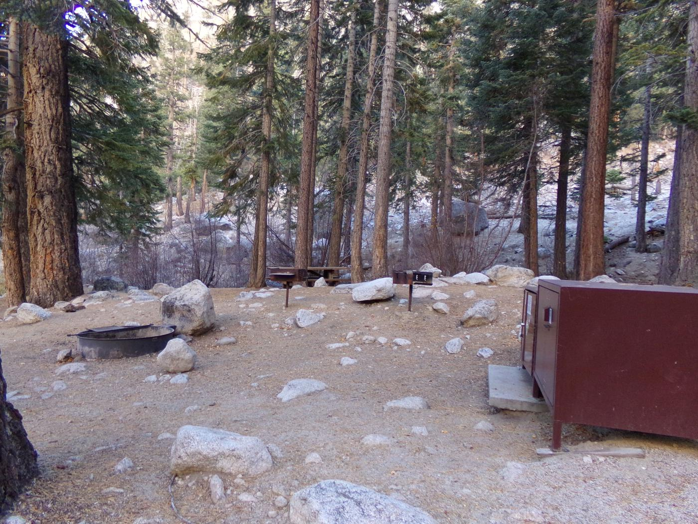 Mt. Whitney Portal Campground Group Site #02 featuring mountain top setting with multiple fire pits and camping space.