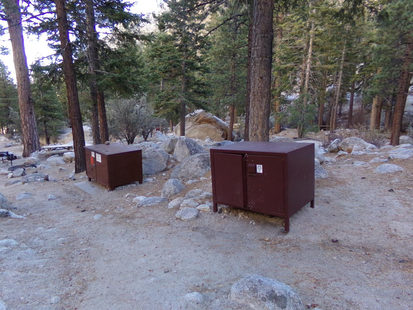 Mt. Whitney Portal Campground Group Site #03 featuring food storage at this mountain top setting.