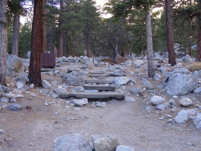 Steps leading to Group Site #03 at this mountain top setting, Mt. Whitney Portal Campground.