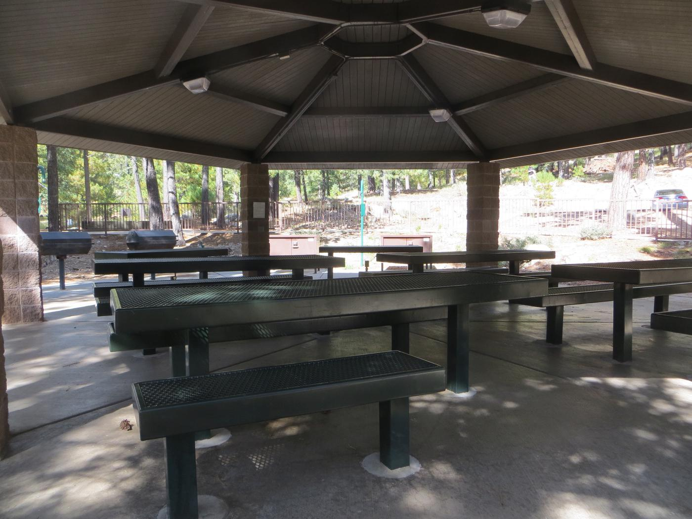 View from under the ramada of the picnic area at Group Site #01, Whitetail Campground.