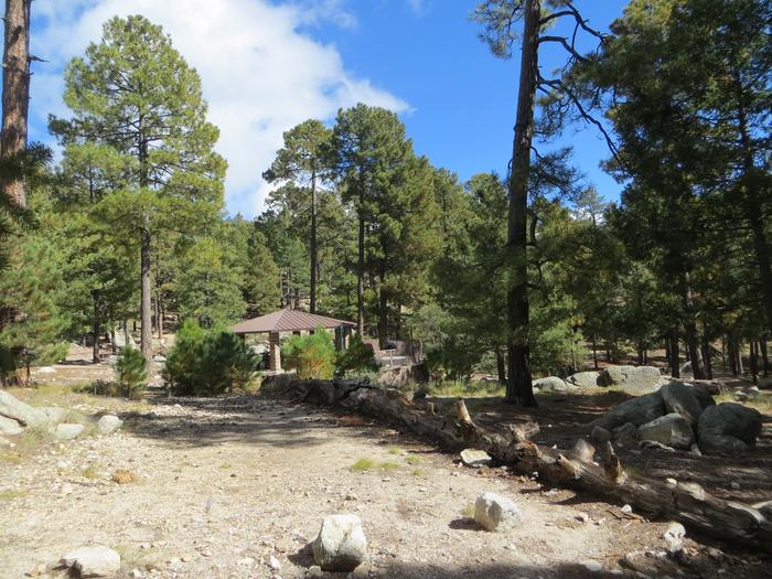 Whitetail Campground Group Site #03 featuring large ramada with multiple picnic tables, camping spaces, and food storage.