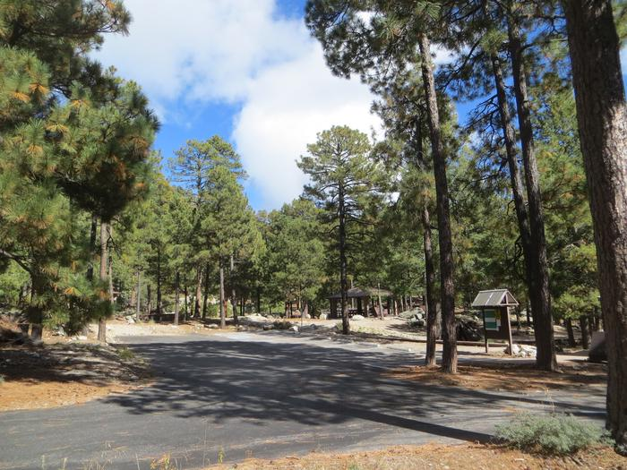 Entrance and parking lot space at Group Site #04, Whitetail Campground.
