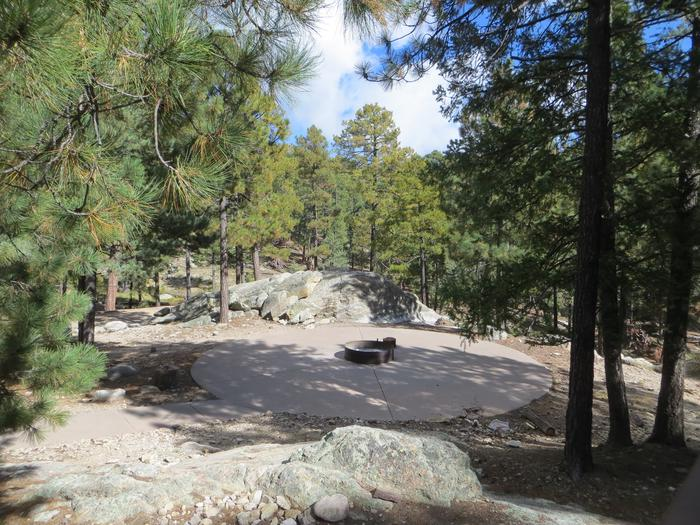 Centrally located scenic fire pit ring and camping locations at Group Site #05, Whitetail Campground.