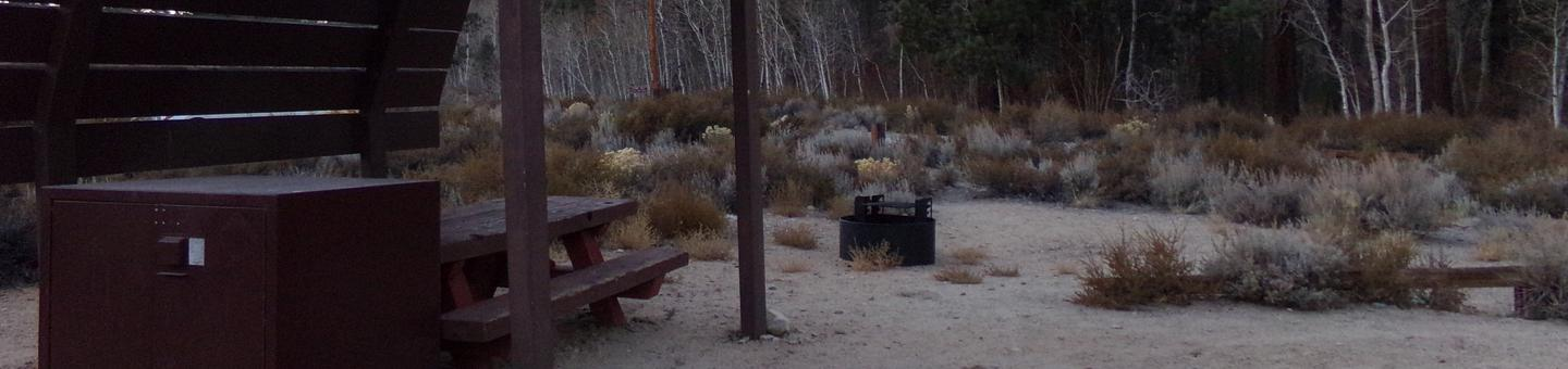 Tuff Campground site #02 featuring shaded picnic area, camping space, and fire pit.