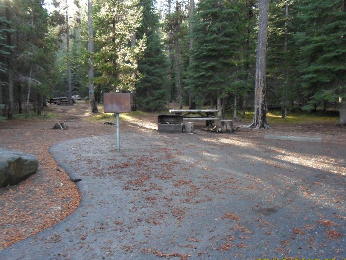 Flat campsite with one picnic table and fire ring.C-18