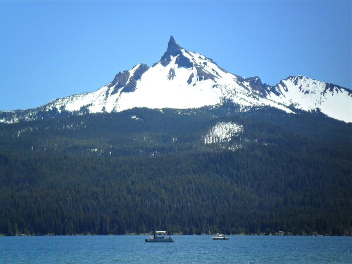 View of Mount Thielsen from campground