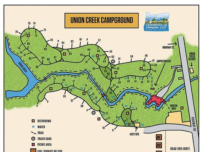 Map of Union Creek Campground
