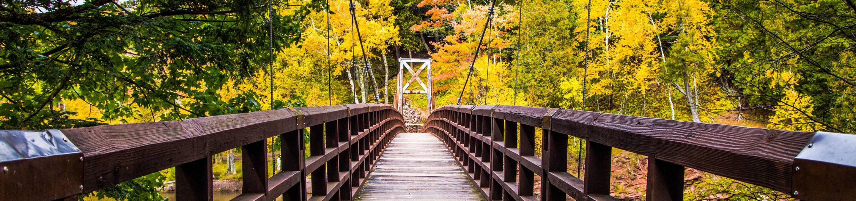 Footbridge passing through the Black River Harbor Campground