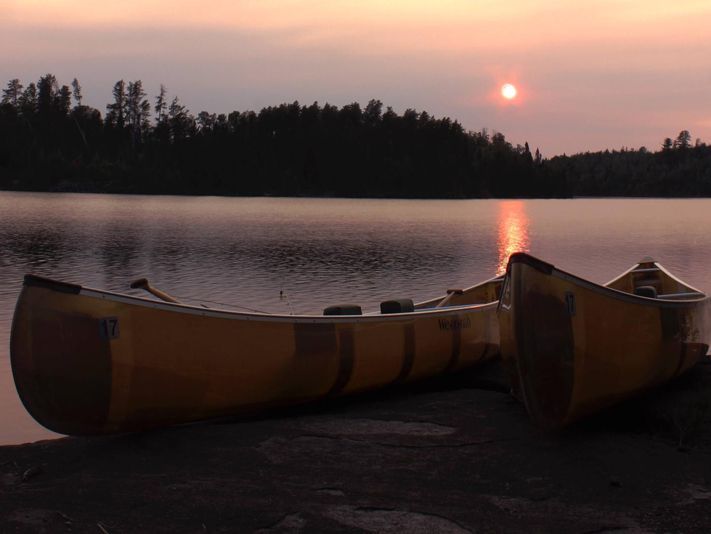 Sunset Over Canoes, North Temperance Lake, Superior National Forest