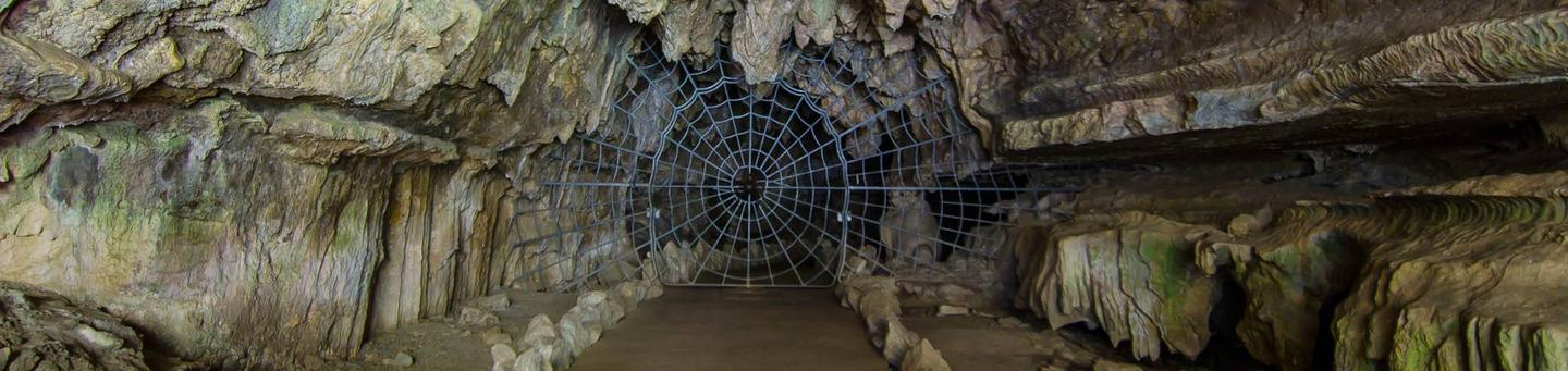 In order to enter Crystal Cave you must first pass through the famous historical Spider Web Gate. The gate was installed in 1939.The Crystal Cave Spider Web Gate. Installed in 1939.