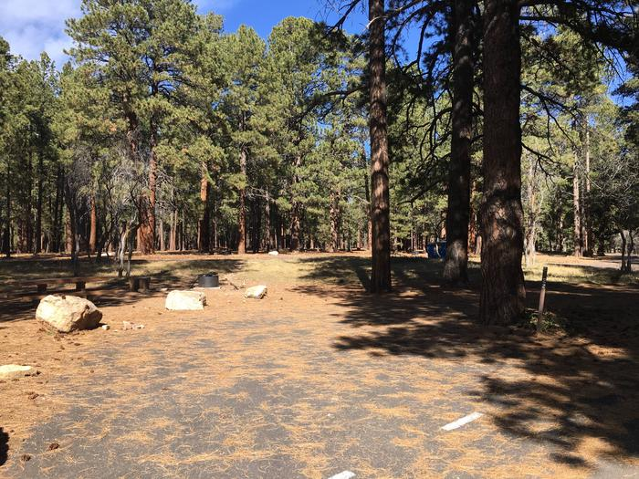 Picnic table, fire pit, and driveway for North Rim Campground, Site 22.