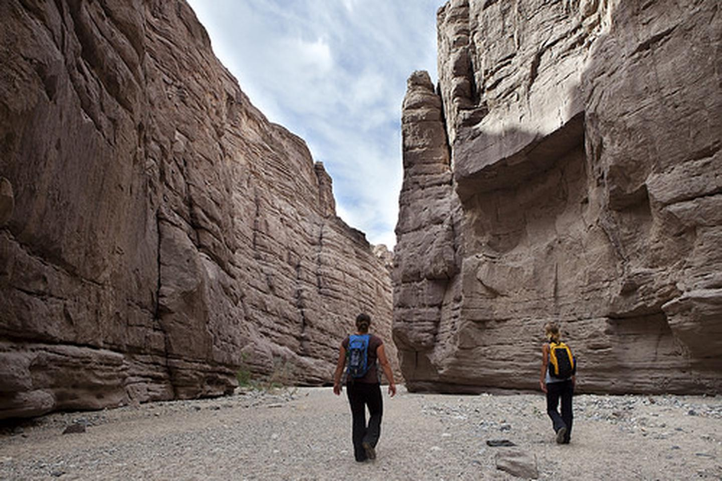 Mecca Hills WildernessIn addition to countless opportunities for cross-country exploration for adventurous hikers, two marked trails offer hikes to particularly scenic spots. Painted Canyon offers a moderate hike of up to five miles round trip through colorful rock formations.