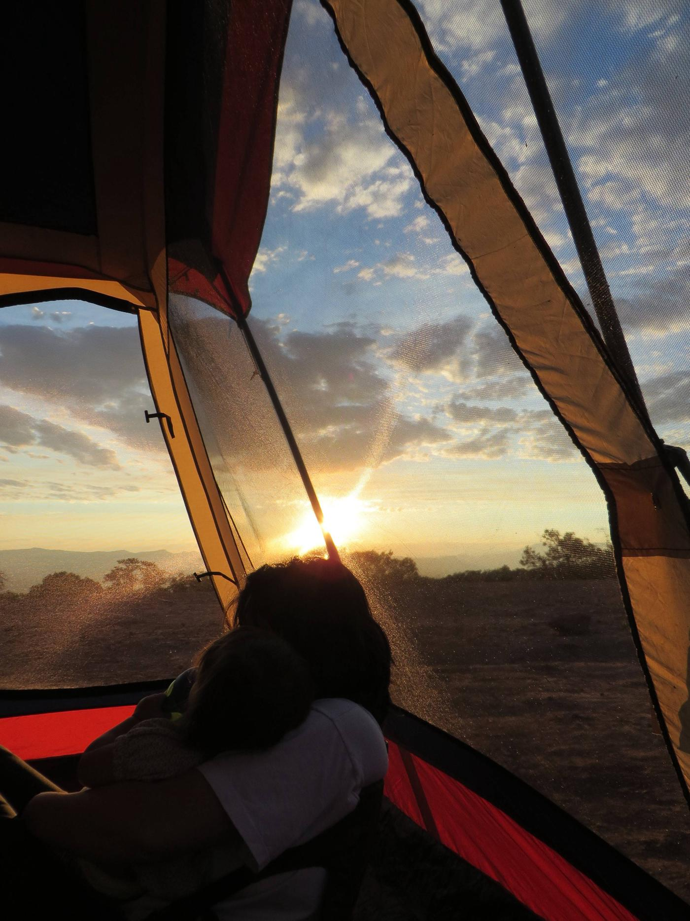 Saddlehorn CampgroundSunrise From Within a Tent in Saddlehorn Campground