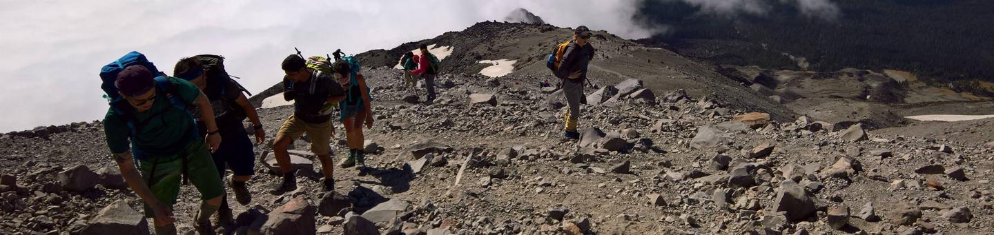 Climbers Ascending to the Crater Rim