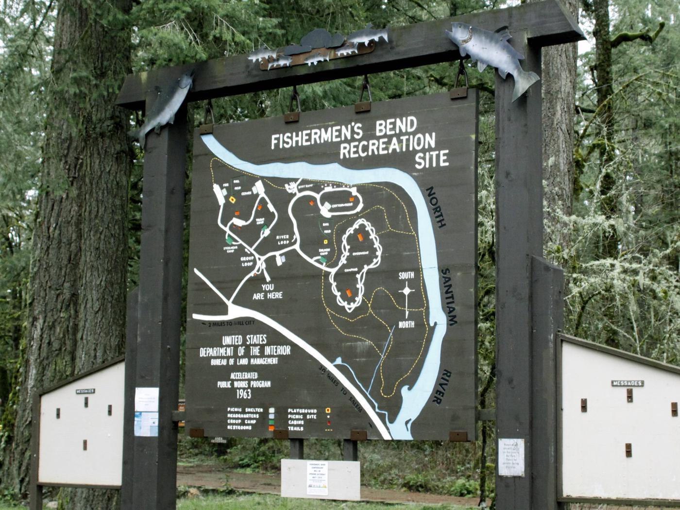 Fishermen's Bend Recreation Site wooden map