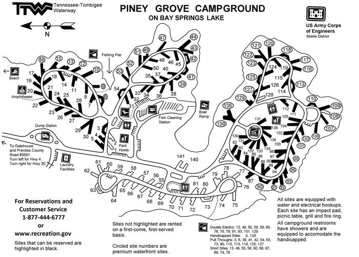 Piney Grove Campground Map