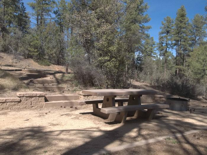 Site 13 Partly Shaded Table And Fire Ring on Decomposed Granite With Six Stairs And Block Wall Leading to Paved Parking  Hilltop Campsite Site #13