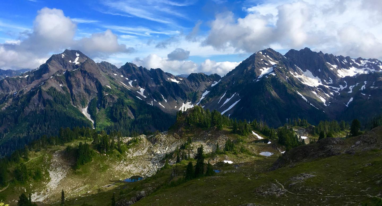 View of Mount Steel, Mount Duckabush, and the sub alpine meadows of Lacrosse Basin.Lacrosse Basin