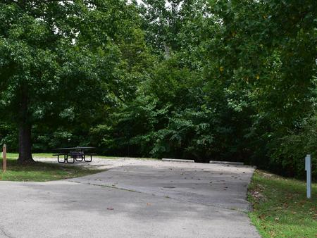 Campsite 25 showing parking spur,picnic table, electric hookup and fire ringCampsite 25