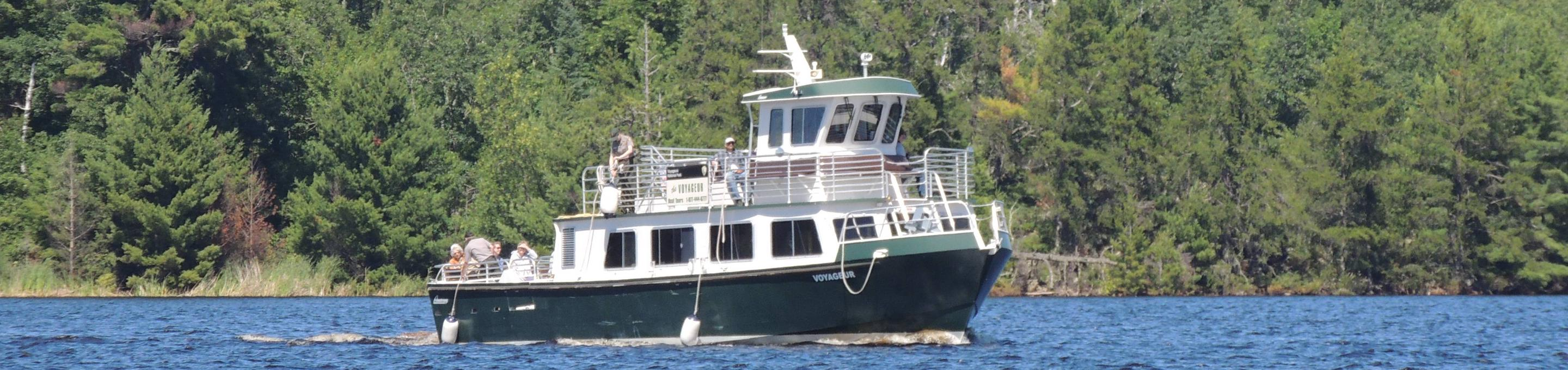The Voyageur Tour Boat on the waters of Rainy LakeThe Voyageur Tour Boat travels the waters of Rainy Lake