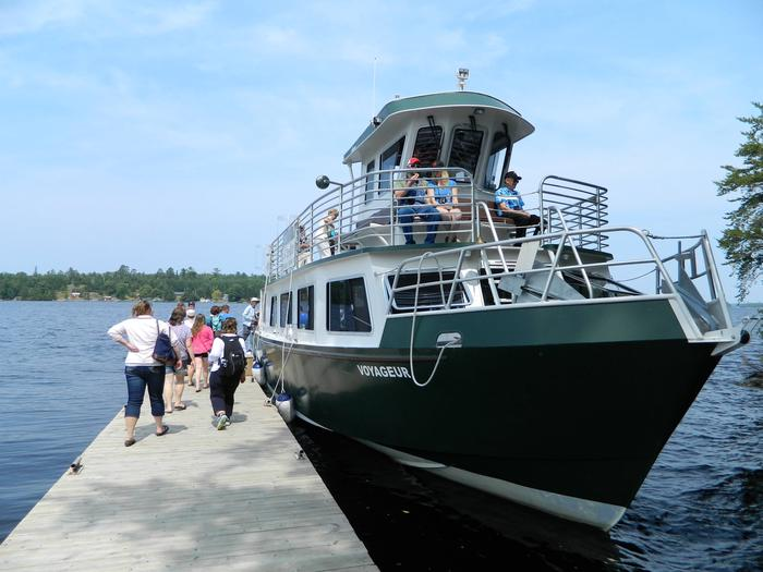 The Voyageur Tour Boat docked at Little American Island