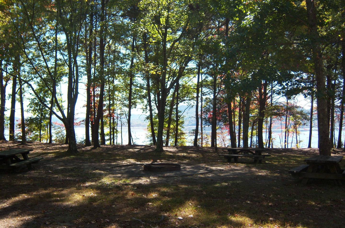 Twin Knobs Campground East Group SiteGroup fire pit with lake view