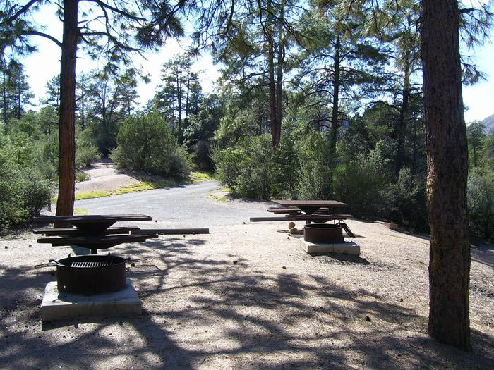 Yavapai Campground Double Site 5 with two tables, two grills and parking for two vehicles, Some shade Yavapai Campground Site #5