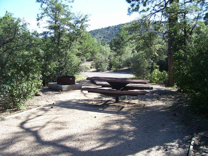 Yavapai Campground Site 10 with some shade covering the table and fire pan on a small cement slab Yavapai Campground Site 10