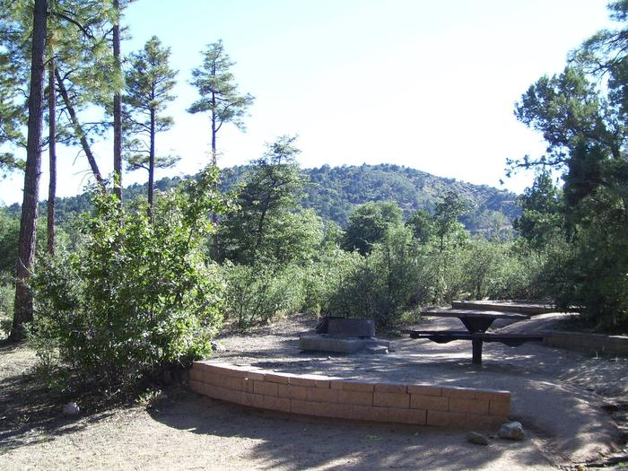 Yavapai Campground Site 11 with table and fire pit  in raised area in heavy shade. Uneven ground and loose rock. Yavapai Campground Site 11 table and fire pit area
