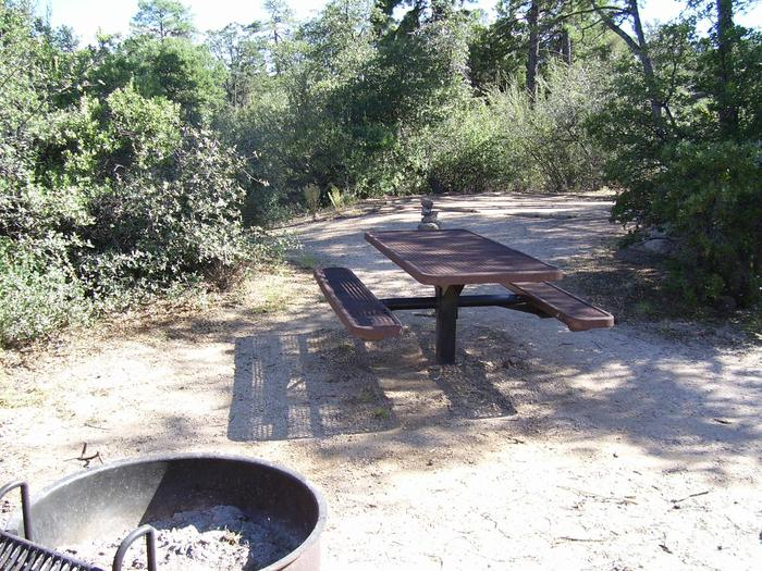 Yavapai Campground Site 12 with table and fire pit on a sandy base with dappled shade. Yavapai Campground Site 12