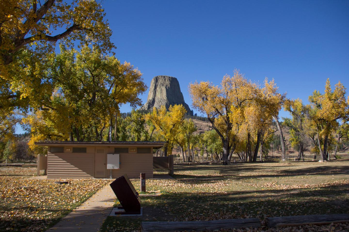 Campground in FallSeptember is a beautiful time to camp at Devils Tower National Monument!
