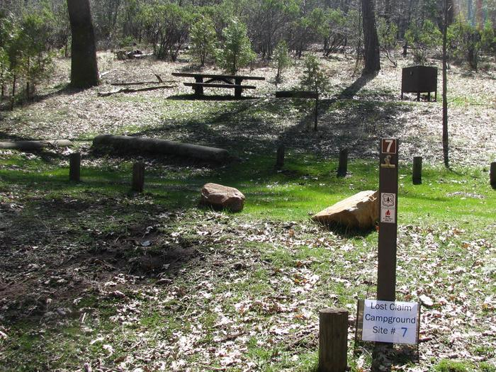 Native surface site with picnic table, fire ring and bear-proof food storage boxLost Claim Campground Site #7